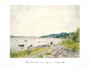 Painting of Port Saunders (obtained from the Canadian National Archives) done in 1885 by a Lieutenant on a French Naval vessel. Photo provided by Tom Caines.